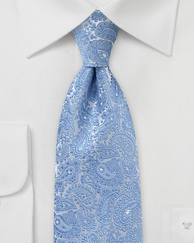 Mens Paisley Necktie in Blue and Silver