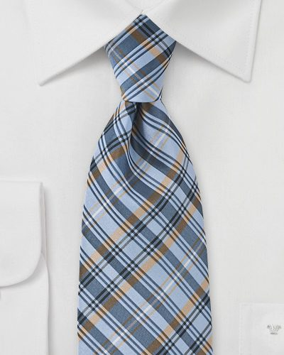 Mens Trendy Plaid Tie in Powder Blue, Tan, Navy