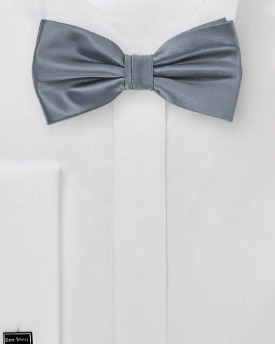 Solid Mens Bow Tie in Gray