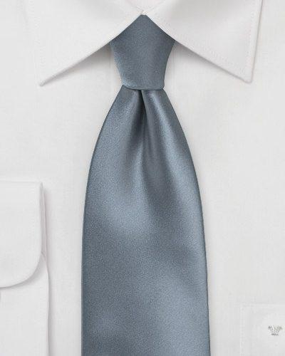 Solid Satin Mens Tie in Gray