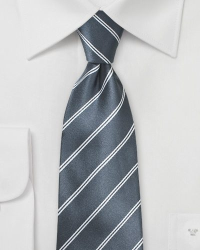Gray Double Pinstriped Necktie