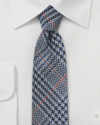 Designer Skinny Glen Plaid Silk Necktie