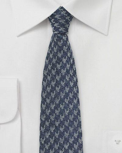 Houndstooth Check Skinny Denim Necktie