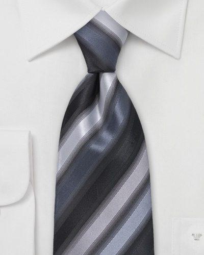 Asymmetrically Striped Necktie in Gray and Silver