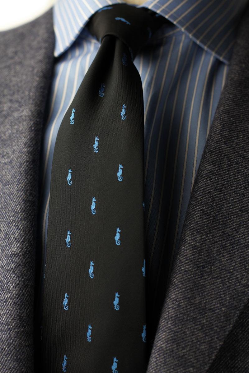 custom seahorse logo ties