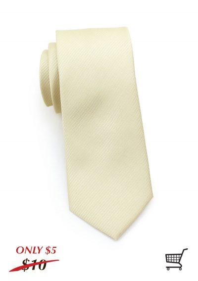 Striped Textured Skinny Mens Necktie in Cream