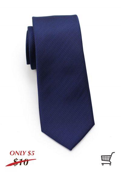 Striped Skinny Textured Necktie in Navy