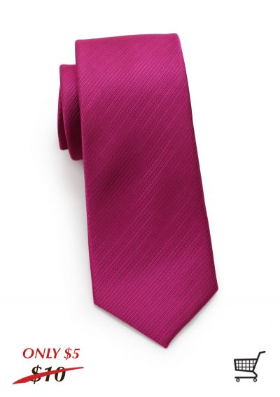 Stripe Textured Skinny Mens Necktie in Raspberry Red