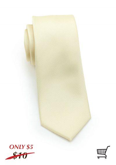 Matte Mens Skinny Necktie in Cream
