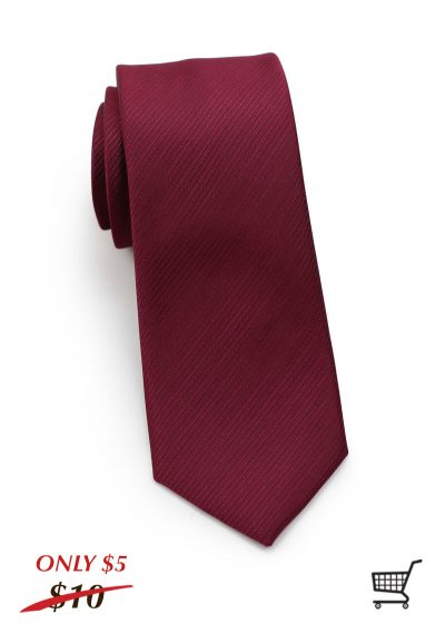 Burgundy Striped Textured Skinny Necktie