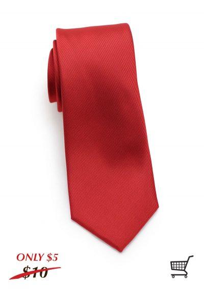 Paprika Red Matte Mens Skinny Necktie