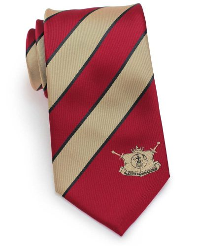 custom striped logo tie in gold and bright red