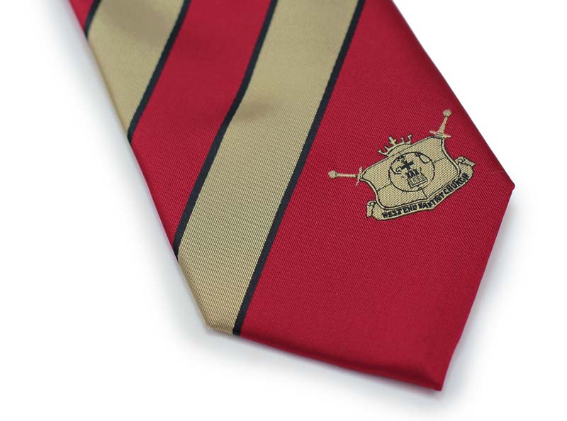 Gold and Red Striped Logo Necktie