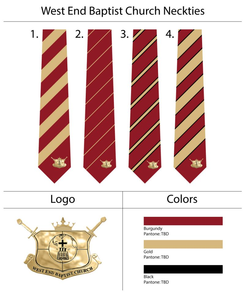 Striped Ties with Custom Gold Logo Embroidered