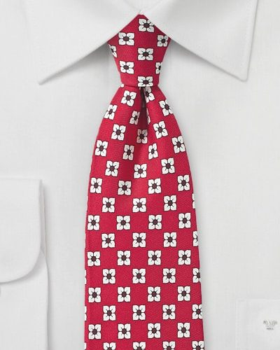 Racing Red Necktie with White Flowers