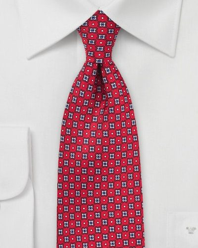 Printed Designer Tie in Cherry Red and Navy