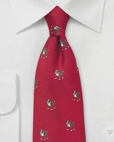 Red Silk Tie with English Bulldogs