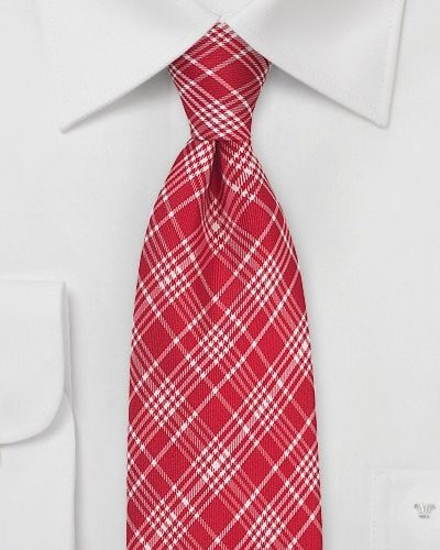 Checkered Designer Tie in Bright Red