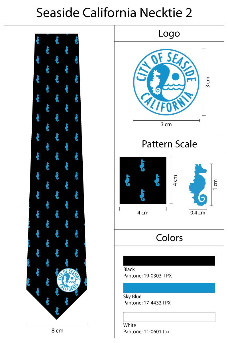 seahorse logo necktie