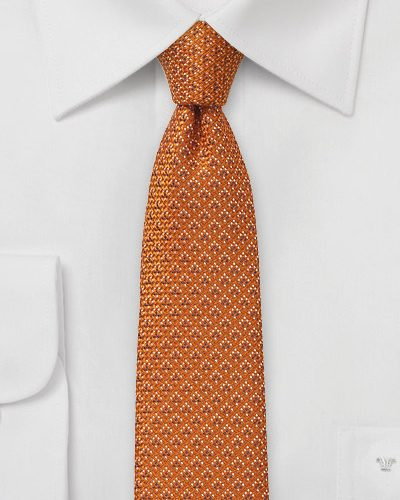 Autumn Orange Skinny Wool Tie