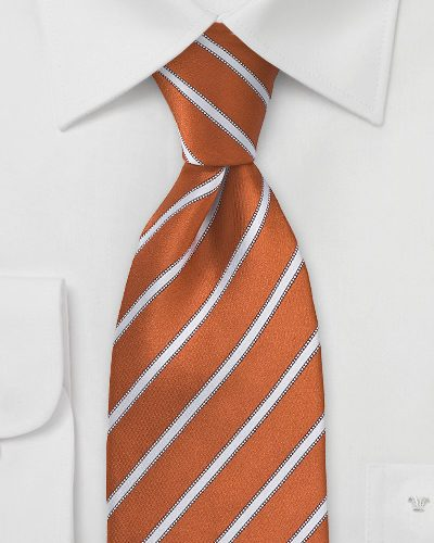 Dark Orange and White Tie