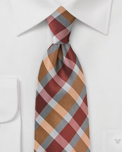 Burnt Orange and Grey Patterned Tie