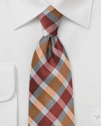 Burnt Orange and Grey Patterned Tie