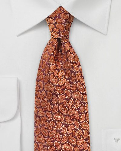 Pumpkin Spice Colored Paisley Silk Tie
