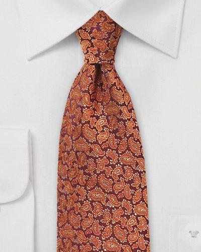 Pumpkin Spice Colored Paisley Silk Tie