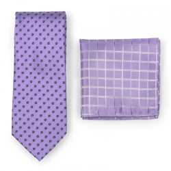 Lavender Necktie Paired to Check Lavender Pocket Square