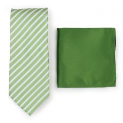 Light Green Striped Necktie Paired to Fern Green Pocket Square