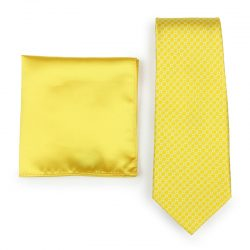 Sunbeam Patterned Necktie Paired to Solid Sunbeam Pocket Square