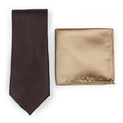 Coffee Brown Necktie Paired to Light Brown Pocket Square