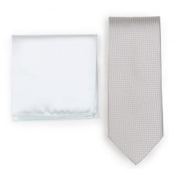 Mens Platinum Necktie Paired to Ivory Pocket Square