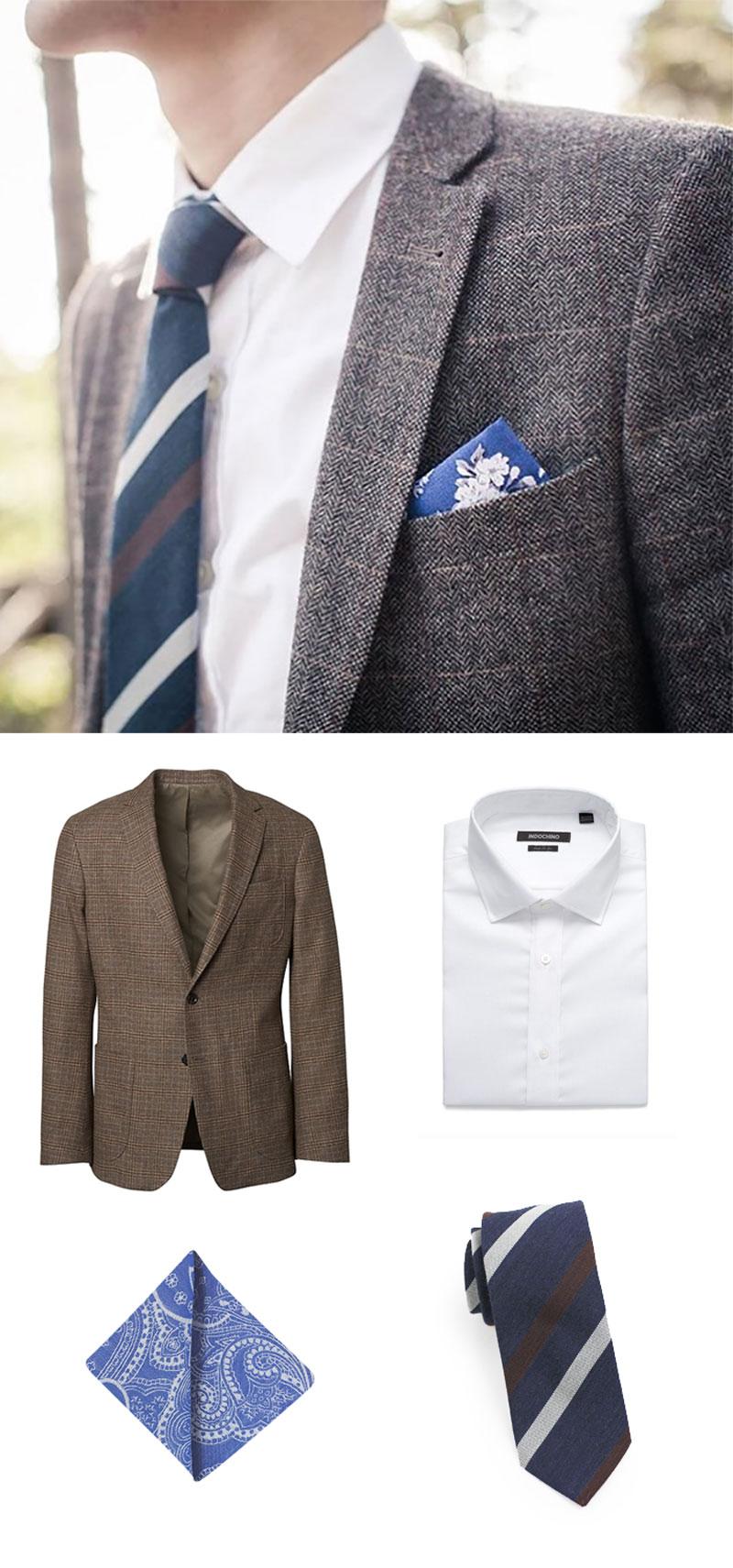Mens Fall Fashion - Brown Wool Check Jacket