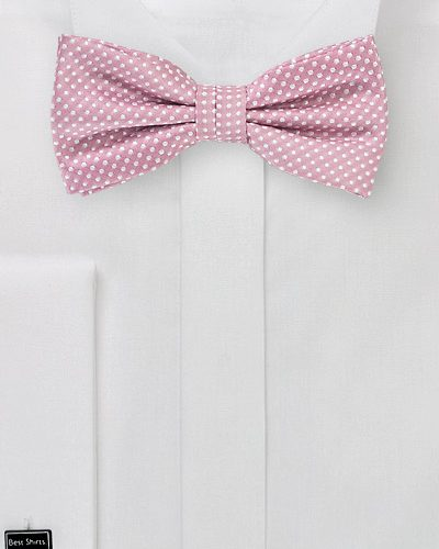 Mens Pin Dot Bow Tie in Dusty Rose