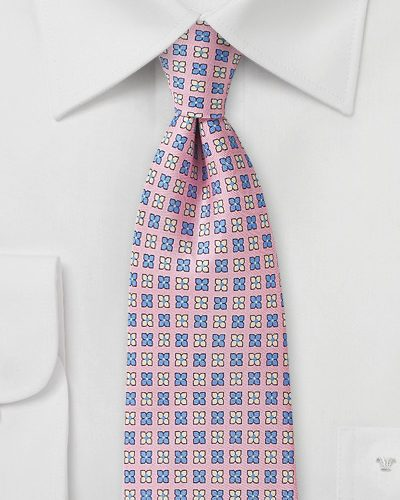 Pink Silk Tie with Lilac and Cream Flowers