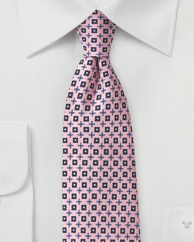 Pink Foulard Tie with Blue Accents