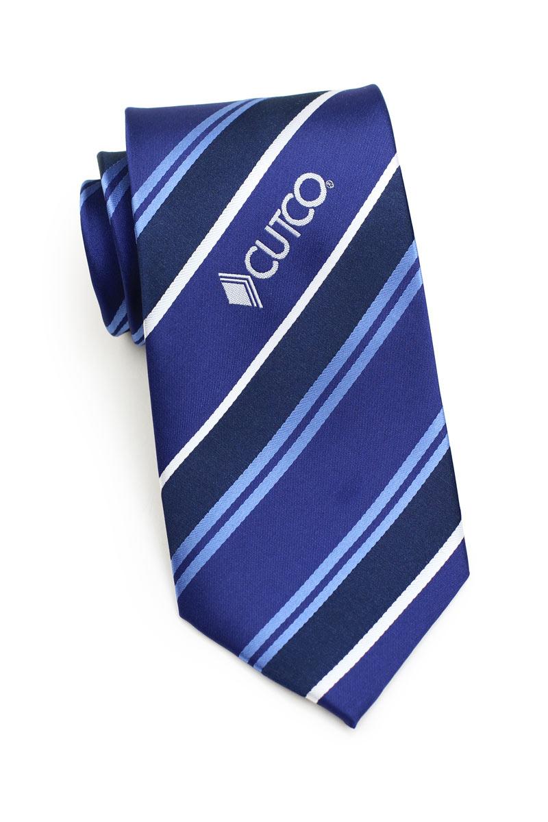 custom logo neckties in blue with stripe design