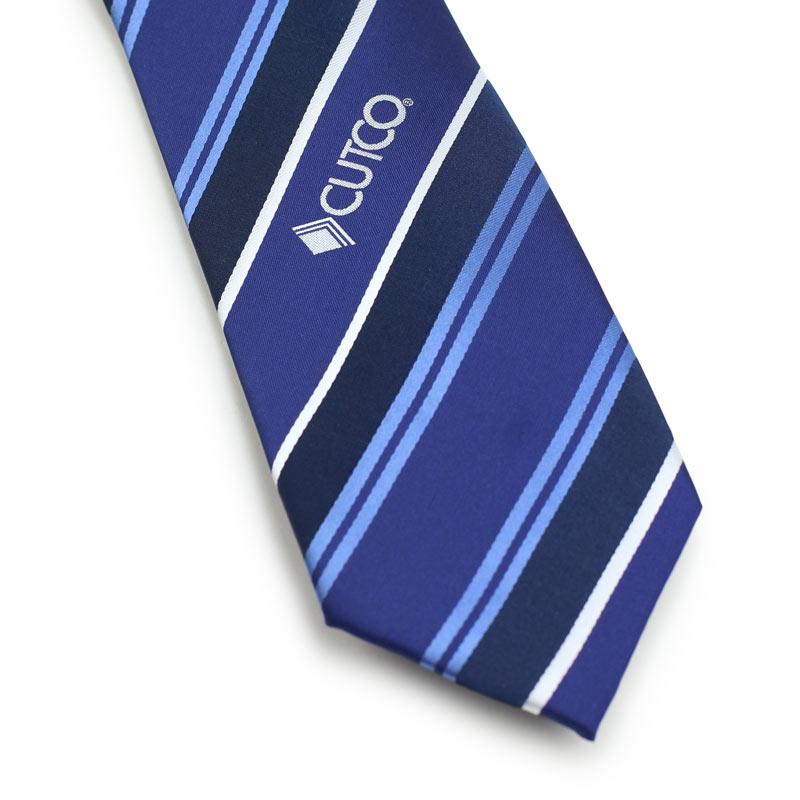 custom logo tie in blue with stripes