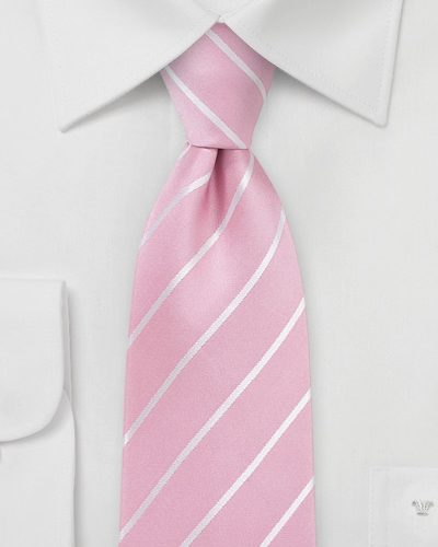 Bright Pink and White Striped Silk Tie