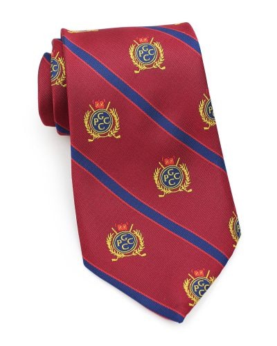 custom striped tie in burgundy and gold