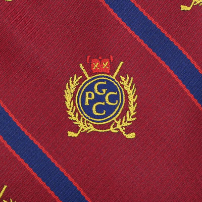 detailed woven fabric of custom logo tie