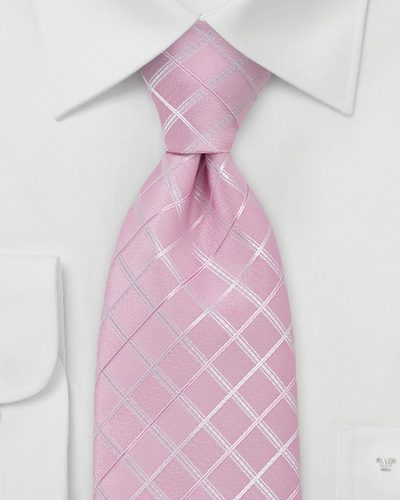 Pink Necktie with Checkered Pattern