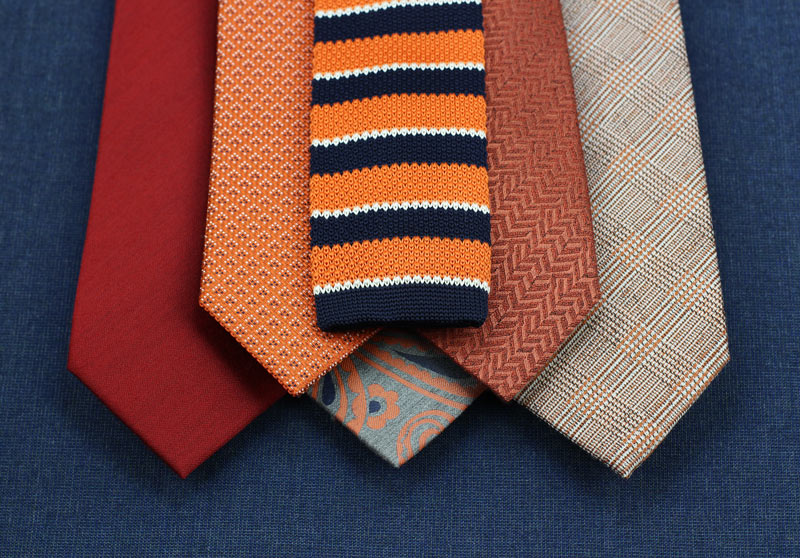 Mens Wool and Silk Ties In Autumn Orange