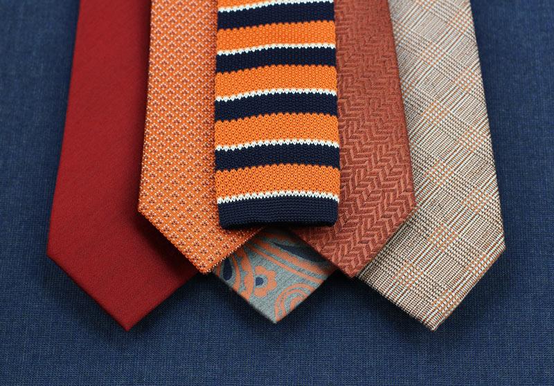 Mens Wool and Silk Ties In Autumn Orange