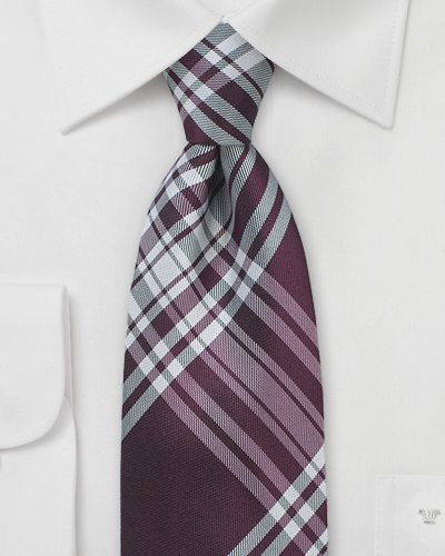 Designer Plaid Mens Necktie in Burgundy