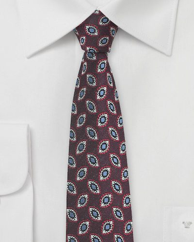 Vintage Design Skinny Tie in Dark Red