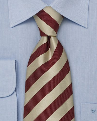 Burgundy and Gold Striped Silk Mens Tie