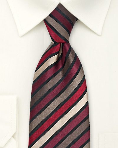 Mens Necktie in Dark Burgundy, Brown, Tan